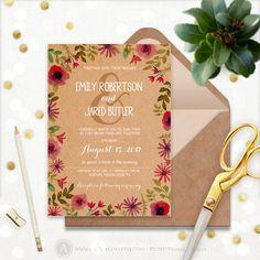 Fall Wedding Invitation Printable Craft Autumn by AmeliyCom https://www.etsy.com/listing/476297325/fall-wedding-invitation-printable-craft