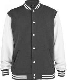 Urban Classics 2-tone College Sweatjacket Charcoal/ White