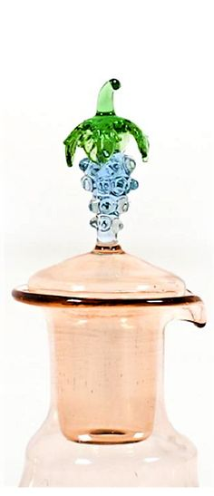 Decanter and 12 glasses by Bimini Werkstätten Wien 1920s-1930s. Decoration with grapes. In beautiful pastel colors. Vienna, Austria, Beautiful