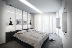 dormitorio al estilo minimalista con lámparas negras