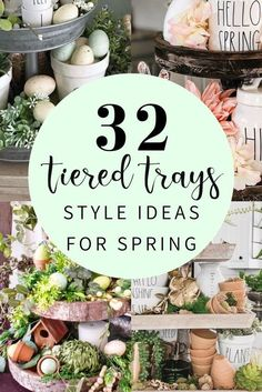 32 beautiful ways to style tiered trays for spring easter and st. Inspiring decor ideas for the trays including Rae Dunn Farmhouse Spring Spring Home Decor, Spring Crafts, Galvanized Tray, Tray Styling, Selling Handmade Items, Tiered Stand, Vintage Market, Tray Decor, Entryway Decor