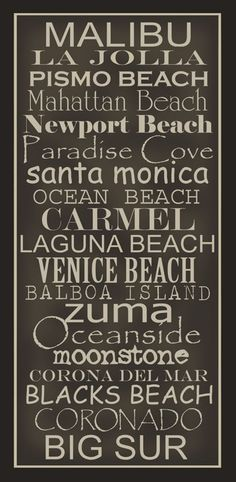 CA Beaches - they are beautiful! Some have dark sand, some have white sand and lots have sheer cliffs and majestic views!