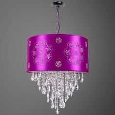 1 Light White Crystal Pendant with a Lilac Shade and Clear European Crystals - Joshua Marshal #purple #purpledecor #purpleshade