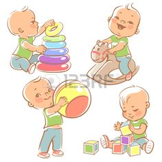 Children play with toys. Little baby boy riding a wooden horse.  Kid with pyramid, boy holding a ball. Baby builds a house with cubes. Toys and games for one year old kid. Colorful illustration.