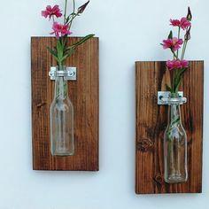 Handmade Hanging glass bottle Vase Set of 2 / Dark Stained Home Decor / Wall Jar / Flower Plant Holder / Shabby Country Sconce