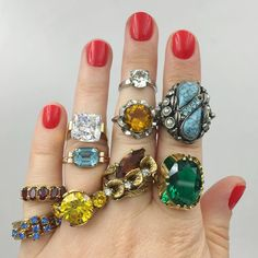 Vintage rings from Reverie vintage jewelry NYC