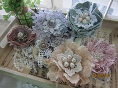 5pcsHandmade Lace Flowers/Head pieces/Bling by msgardengrove1, $15.99
