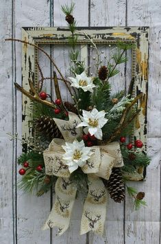 Ready to Ship Wooden Frame with Chicken Wire Black and Gold Faux Deer Antlers Pinecones pictureframewreath Christmas Door Decorations, Christmas Frames, Christmas Porch, Christmas Centerpieces, Holiday Wreaths, Rustic Christmas, Simple Christmas, Christmas Ornaments, Picture Frame Wreath