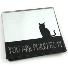 """Set di 2 """"You Are Purrfect!"""" Sottobicchieri in vetro, a specchio, con disegno di gatto"""
