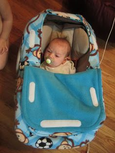"With the cold weather coming, we need to keep our little people nice and warm!    I decided to make a ""shower cap"" style car seat cover for ..."