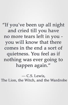 """""""If you've been up all night and cried till you have no more tears left in you - you will know that there comes in the end a sort of quietness. You feel as if nothing was ever going to happen again. Lewis, The Lion, the Witch, and the Wardrobe Quotable Quotes, Wisdom Quotes, Quotes To Live By, Me Quotes, Motivational Quotes, Inspirational Quotes, Lyric Quotes, People Quotes, Sunset Quotes"""