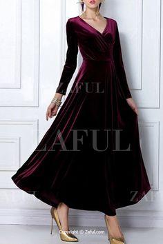 Pleuche V Neck Long Sleeve Maxi Dress