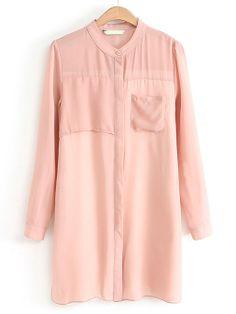 Pink Long Sleeve Fashion Pockets Blouse - Sheinside.com