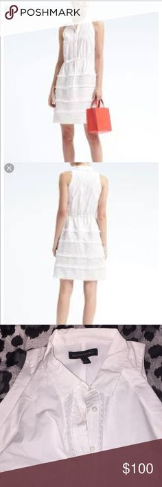 NWT banana republic shirt dress white Petite size small white sleeveless lace in shirt shirt dress from banana republic. Brand new with tags. Retail $128. The pictures do not begin to do this dress justice, it is absolutely stunning.  I bought it for a wedding and ended up having to wear something else. Banana Republic Dresses Mini