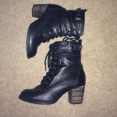 Boots Black faux leather booties, zipper sides and laces. Man made heels. Size 6 1/2 and fit true to size. Bought from DSW and forgot what brand these are but they're well made. Only worn two times and any small signs of wear are pictured. ✨Price is negotiable✨ Nordstrom Shoes Lace Up Boots