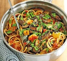 Spicy spaghetti with garlic mushrooms.    Shop organic ingredients for your recipes at www.farm2kitchen.com.