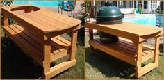 Big green egg large table A cypress table or a Big Green Egg logo infused mahogany table Owners of the large model Way Cool Technicolor Furniture Projects, Wood Furniture, Wood Projects, Big Green Egg Large, Egg Logo, Kate Smith, Ceramic Grill, Hearth And Home