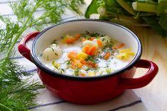 Zupa kalafiorowa z koperkiem Diced Carrots, Carrots And Potatoes, How To Make Cauliflower, Cauliflower Soup, Hard Boiled, Boiled Eggs, Caraway Seeds, Peeling Potatoes, Fresh Dill