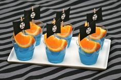 Pirate party - orange slices in blue jello to look like pirate ships - Actually, these are the ones I did.