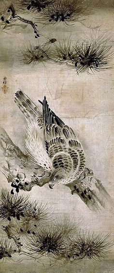 Sesson Shūkei (Japanese, 1504-1589), Hawk and Pine Trees, Ink painting, 126.5 x 53.5 cm. Muromachi Period, Tokyo National Museum.