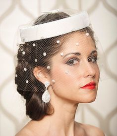 Diamond White Off White Wedding Hat Bridal Head by gildedshadows