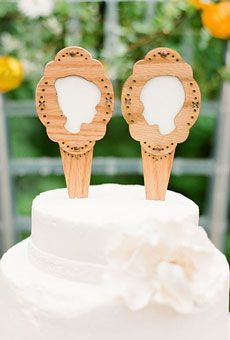 UNIQUE WEDDING CAKE TOPPERS  Wooden silhouette cake toppers, $59 for two, Figs + Ginger
