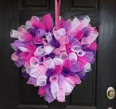 Valentine's Day Deco Mesh Wreath, Valentine's Day mesh wreath, heart wreath, heart deco mesh wreath, purple and pink mesh wreath