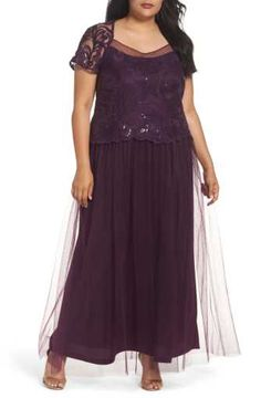 4058f8e7c47af Brianna Sequin Bodice Gown (Plus Size) Floral Fashion