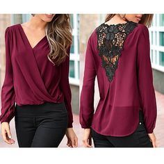 Fashion Women Summer Chiffon Lace Crochet Long Sleeve Shirt Casual Blouse Tops #Unbranded #Blouse #Casual