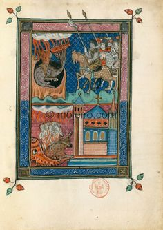 "f. 74r, The second eschatological combat (Ap. 20, 7-10). An army as numerous ""as the sand of the sea"" stands..."
