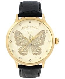 Betsey Johnson Women's Gold-Tone Butterfly Patent Leather Strap Watch 42mm BJ00496-16