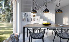 Dostępny 4A - wizualizacja 6 - mały dom z garażem jednostanowiskowym i antresolą Home Office Design, House Design, Kitchen Dining, Dining Table, Facade House, Home Renovation, Planer, House Plans, Ceiling Lights