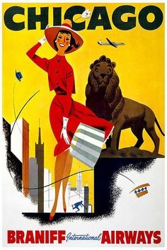 Vintage Travel Poster Chicago by Kirt Baab, via Flickr
