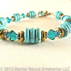 Turquoise dyed Magnesite bracelet aqua crystal bronze glass. 12-112 | MartieRocco - Jewelry on ArtFire