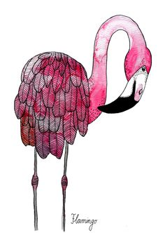 Kunstdruck mit Flamingo Illustration, pink / flamingo print, pink lover, tropical by Frau Ottilie via DaWanda.com