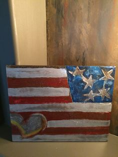 """My hand made """"Flag with heart"""" concrete-crushed glass-metallic-resin SOLD"""