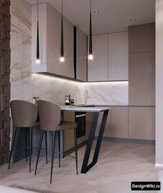 Kitchen Bar Design, Luxury Kitchen Design, Home Decor Kitchen, Interior Design Kitchen, Home Kitchens, Modern Kitchen Interiors, Contemporary Kitchens, Contemporary Bedroom, Small Apartment Interior