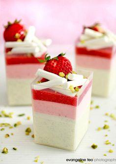 Vanilla Bean Yogurt Panna Cotta with Strawberry Mousse & Strawberry Gelee.