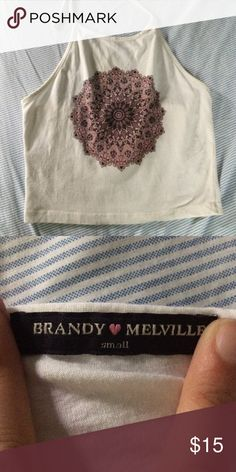 Brandy Melville mandala halter Good condition/ white with purple design! Brandy Melville Tops Tank Tops
