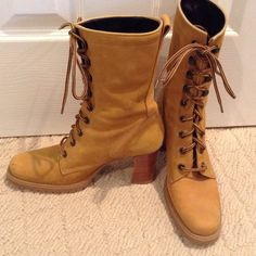 Nine West leather lace-up boots Tan leather Nine West lace up boots.  Mid-calf height, minor scuffs on toes. Nine West Shoes Lace Up Boots