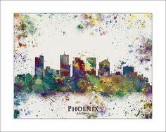 PHOENIX Skyline Phoenix ARIZONA Map of Phoenix by WaterColorMaps