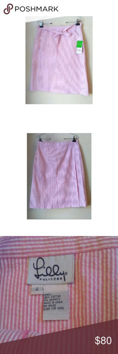 """🆕 LILLY PULITZER WRAP SKIRT STYLE : KAYLIE  VERY PRETTY SEERSUCKER PINK STRIPES WRAP SKIRT . MEASURES 25""""LONG 32"""" WAIST 95% COTTON 5% SPANDEX MINIMAL STRETCH. NWT Lilly Pulitzer Skirts"""