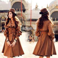 Damen Mode Winter/Herbst Lang Jacke Mantel Parka Trenchcoat Outwear Coat Tops