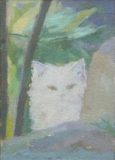 "This is an original oil painting called White Cat Behind a Rock."" The small painting would look great on a table or shelf, or as part of a gallery wall. It is ready to hang in a handmade wood frame. Small Paintings, Beautiful Paintings, Original Paintings, Framed Wall Art, 5 D, Oil On Canvas, Contemporary Art, Cats, Artist"