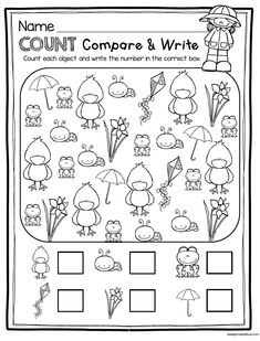 SPRING count compare and write - easy kindergarten spring worksheet