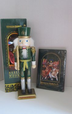 """Moscow Ballet's Great Russian Handcrafted Wooden 12"""" Nutcracker and DVD 2014"""