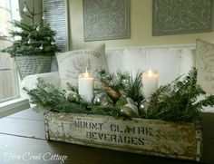 Decorations – Winter Table Ideas & More! Winter Decorations - Winter Table Ideas & More! - MoreWinter Decorations - Winter Table Ideas & More! Cottage Christmas, Farmhouse Christmas Decor, Noel Christmas, Primitive Christmas, Rustic Christmas, Christmas Crafts, Primitive Decor, Christmas Mantles, Vintage Christmas Decorating