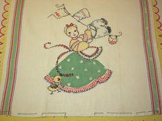 Broderie design, lovely handwork! Vintage Embroidered & Applique Towel Laundress by unclebunkstrunk, $27.99