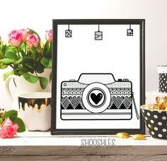 Camera Print Digital Download Love Photography Photo by shooshles #smile #print #camera #cameraprint #camera_drawing #drawing #illustration #digitalart #artwork #draw #lovephotography #photography #photographer #inkart #pink #ink   #white #love #nursery #printable #prints #printable #art #arts #arte #pinterest #etsyshop #etsy #fashion #fashionwallart #fashionprint #homedecor #home_decor #modern #artist #diy #gift #giftidea #heart #love #quote #saying #smilecamera #lovecamera #blackink…
