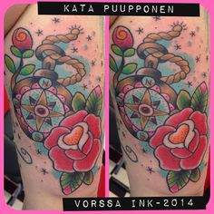 https://www.facebook.com/VorssaInk, http://tattoosbykata.blogspot.fi, #tattoo #tatuointi #katapuupponen #vorssaink #forssa #finland #traditionaltattoo #suomi #oldschool #pin up #compas